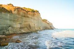 Loggas beach (Peroulades beach, Sunset beach) Corfu Island, Gree Royalty Free Stock Photo