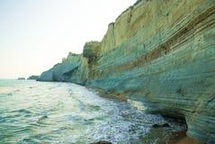 Loggas beach (Peroulades beach, Sunset beach) Corfu Island, Gree Royalty Free Stock Photos