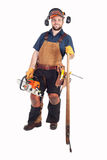 Logger with Chainsaw and Log Hook Royalty Free Stock Images