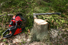 Logger equipment in forest Royalty Free Stock Image