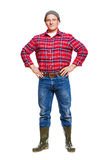 Logger in red shirt isolated. Royalty Free Stock Images