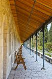 Loggia. Covered wooden gallery in Jerusalem, Israel Royalty Free Stock Image