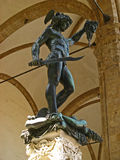 Loggia dei Lanzi. Loggia dei Lanzi/Loggia della Signoria in Piazza della Signoria in Florence (Firenze), Tuscany, Italy. Specifically, Perseus holding the head Stock Photography