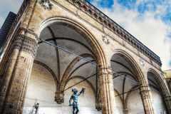 Loggia dei Lanzi under a grey sky in Florence Royalty Free Stock Photography
