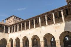Loggia in main courtyard at  Sforzesco Castle, Pandino Royalty Free Stock Photos