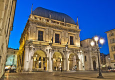 Loggia Square, Brescia, Italy. Suggestive view of Loggia square in Brescia city Stock Photo