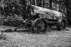 Logging in Black and White. An old log hauler in on display in Liggit, California. The logging industry is big in Northern California Stock Image