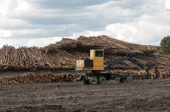 Logging equipment at lumber mill Royalty Free Stock Photo