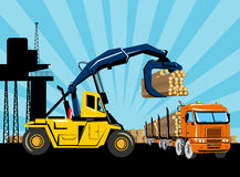 Logging forklift truck lorry. Retro style illustration of an articulated logging truck being loaded logs by a forklift truck or hoist crane with building and Stock Photo
