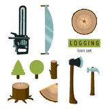 Logging icon set. Lumber equipment. Isolated on white icons collection stock illustration