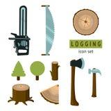 Logging icon set Stock Photos
