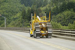 Logging Truck 2. An empty logging truck in transit from the sawmill to the forest Stock Images