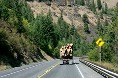 Logging truck. On winding mountain road Stock Images
