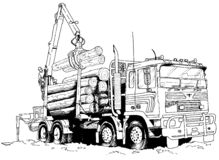 Logging truck. Illustration of a logging truck Stock Photography