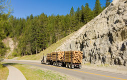 A logging truck on a highway in british columbia Stock Images