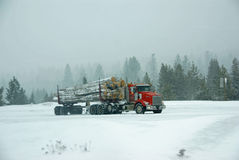 Logging truck on icy road Royalty Free Stock Images