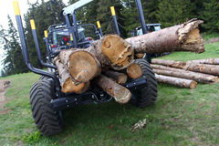 Logging Truck Loaded. Logging truck with full load of logs ready to leave Royalty Free Stock Photography