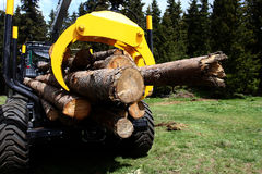 Logging Truck Loaded. Logging truck with full load of logs ready to leave Royalty Free Stock Photo