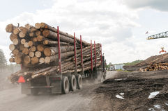 Logging truck logs at mill. Logging truck delivering a load of logs to a lumber mill.  Dover-Foxcroft, Maine Stock Image