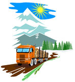 Logging Truck with mountains Royalty Free Stock Photo
