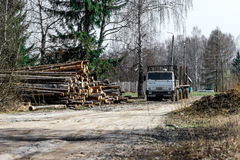 Logging truck on the street Royalty Free Stock Photo