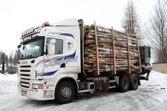 Logging Truck Trailer full of logs Stock Photo