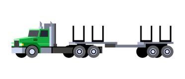 Logging truck trailer. Minimalistic icon logging truck trailer front side view. Logging tractor truck vehicle. Vector isolated illustration vector illustration