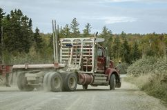 Logging truck in the woods Royalty Free Stock Photo