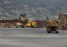 Logging Trucks unloading Stock Photos