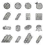Logging and wood icon set . Thin Line Style stock vector. royalty free stock image