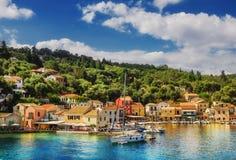 Loggos村庄, Paxos,希腊 免版税库存图片