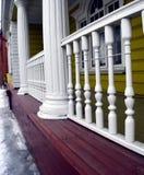 Logia de madera de una casa señorial vieja Imagen de archivo libre de regalías