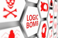 LOGIC BOMB concept. Cell blurred background 3d illustration Royalty Free Stock Photos
