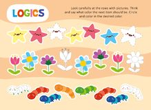 Logic Color Chain Kid Game Printable Worksheet. Look Carefully at Rows with Picture and Give Right Answer. Children Study and Play Brain Education Lesson. Flat stock illustration
