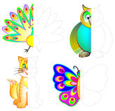Logic exercise for children. Draw and paint second parts of animals considering the symmetry. Vector image. Scale to any size without loss of resolution Stock Images