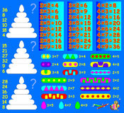 Logic exercise for children with multiplication. Solve examples and paint each wheel of pyramid in relevant ornament. Royalty Free Stock Photography