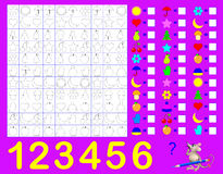 Logic exercise for young children. Count and paint the objects. Write corresponding numbers in empty squares. Stock Photo