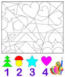 Logic exercise for young children.  Need to find in the drawing the corresponding number of figures and paint them. Vector cartoon image. Scale to any size Royalty Free Stock Photo