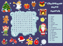 Logic game for learning English. Find the hidden words by vertic. Logic game for learning English. Find the hidden Christmas words by vertical or horizontal Royalty Free Stock Photo