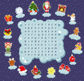 Logic game for learning English. Find the hidden words by vertic. Logic game for learning English. Find the hidden Christmas words by vertical or horizontal Stock Photography