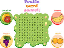 Logic game for learning English. Find the hidden words by vertic. Logic game for learning English. Find the hidden fruits words by vertical or horizontal lines Stock Photo