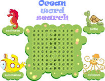 Logic game for learning English. Find the hidden words by vertic. Logic game for learning English. Find the hidden ocean words by vertical or horizontal lines Stock Photo