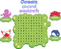 Logic game for learning English. Find the hidden words by vertic. Logic game for learning English. Find the hidden ocean words by vertical or horizontal lines Stock Image