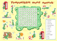 Logic game for learning English. Find the hidden words by vertic. Logic game for learning English. Find the hidden prepositions of movement by vertical or Stock Image