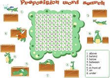 Logic game for learning English. Find the hidden words by vertic Stock Image