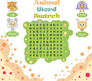Logic game for learning English. Find the hidden words by vertic Stock Photos