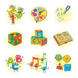 Logic games for kids. Funny cartoon character. Vector illustration.  on white background. Set Stock Photos