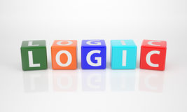 Logic out of multicolored Letter Dices Royalty Free Stock Image