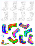 Logic puzzle for children. Need to find pair of each boot and paint them by identical pattern. Royalty Free Stock Photography