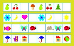 Logic puzzle for children - need to find regularity and draw the correct objects in empty squares. Vector cartoon image. Scale to any size without loss of Stock Photos